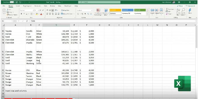 Bureautique tableurs : Excel feuille de calcul